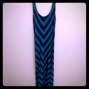Blue, green and black summer maxi dress